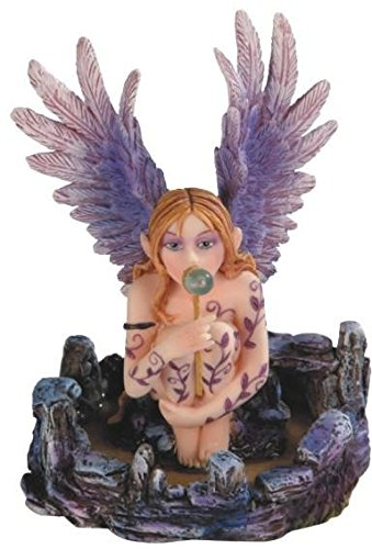 StealStreet SS-G-91592, Purple Winged Angel Fairy Sitting and Blowing Bubbles Statue
