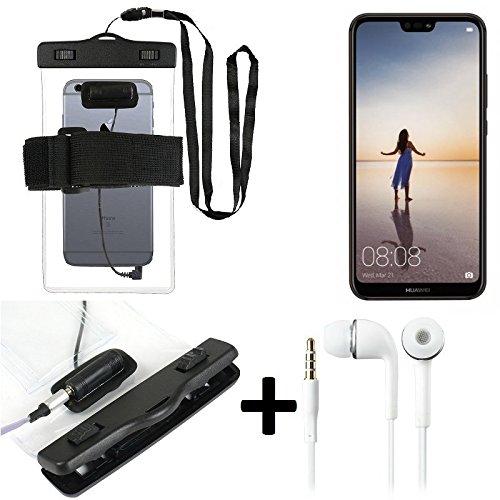 Estuche estanco al agua con entrada de auriculares para Huawei P20 Lite + auricular incluido, transparente | Trotar bolsa de playa al aire libre caja brazalete del teléfono caso de cáscara bajo playa