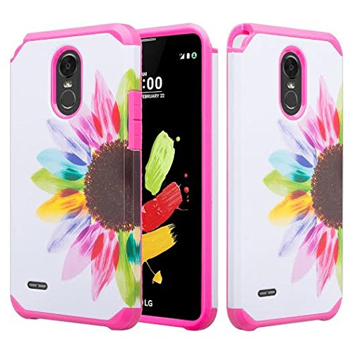 (LG Stylo 3 Case, LG Stylo 3 Plus Case [Shockproof] Hybrid Drop Protection Dual Layer Defender Protective Case Cover for Stylo 3/Stylo3 Plus, Sun Flower)