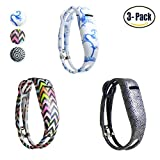 Hotodeal Replacement Bands for Fitbit Flex, Fashion Silicone Wristband Accessory, Colorful Band Design with Adjustable Metal Clasp, Prevent Tracker Falling Off, Cute Patterns, Comfortable, Pack of 3