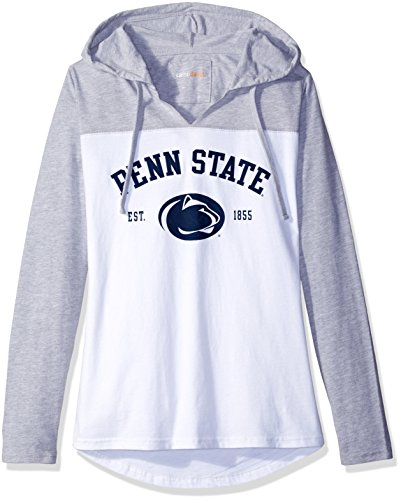 NCAA Penn State Nittany Lions Women's Color Block Long Sleeve Hoodie, Large, Athletic Heather