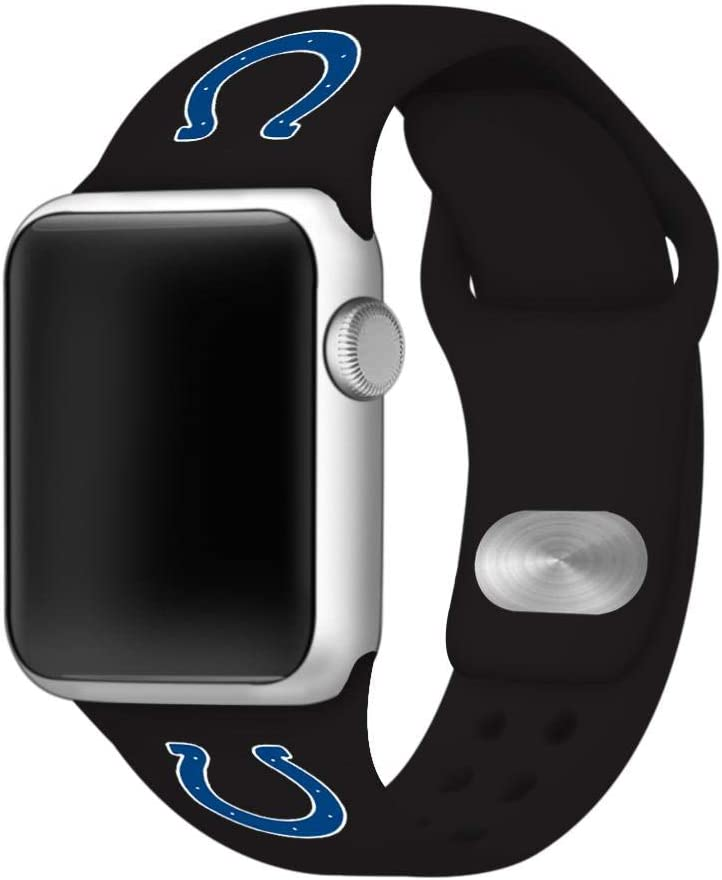 GAME TIME Indianapolis Colts Silicone Sport Watch Band Compatible with Apple Watch- 38/40mm (Black)