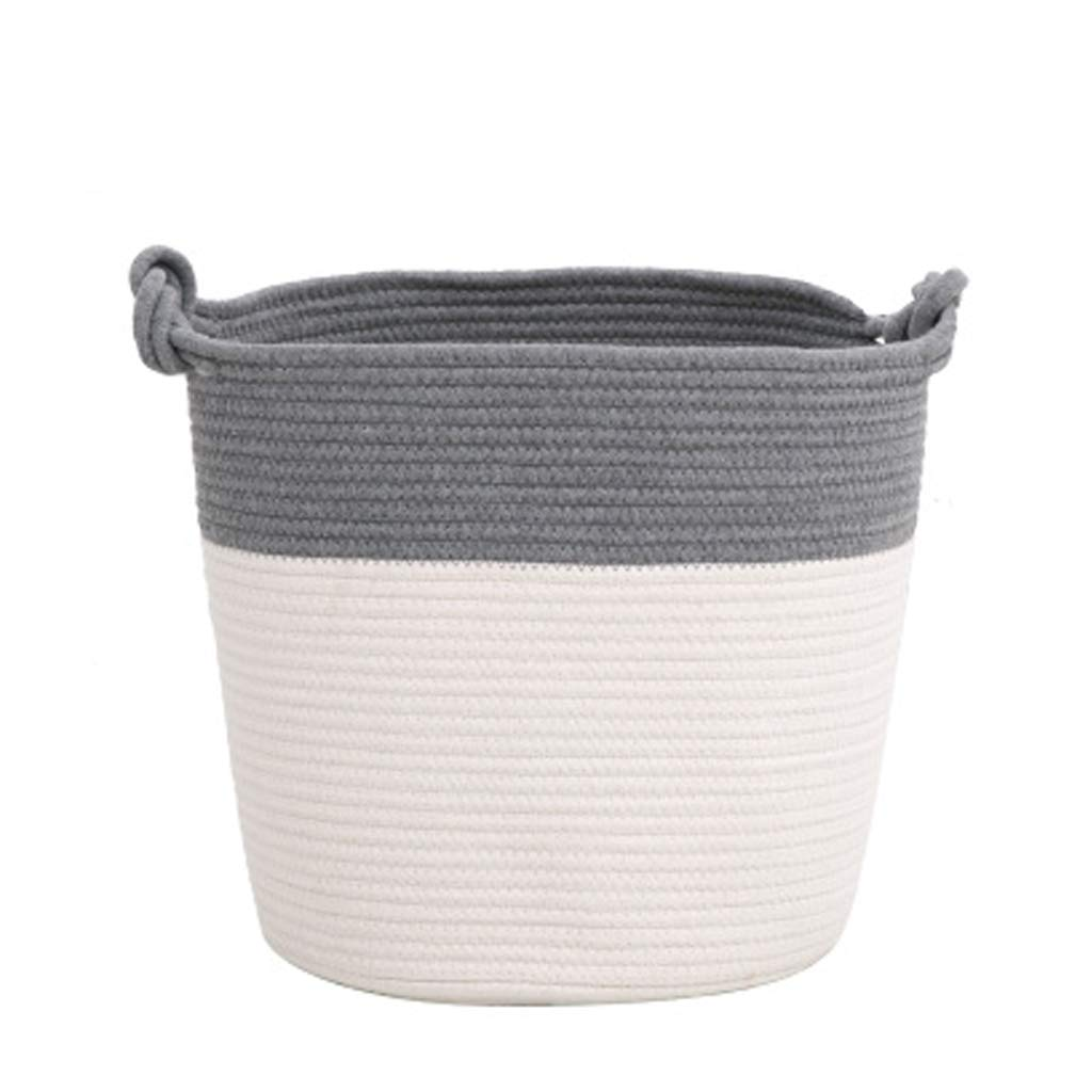 Storage Basket Large Fabric Clothes Storage Personality Cotton Woven Foldable Toy Snacks Debris Sorting Basket DELICATEWNN (Color : Gray)
