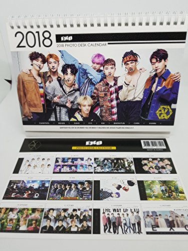 EXO K-Pop 2018foto calendario de computadora con 5mini tarjetas de fotos, SIZE:8.9'x 6.7' Card Size :2.5'x3.7'
