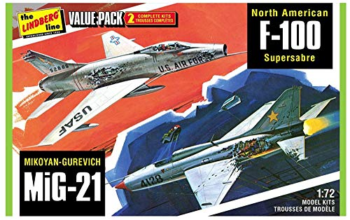 AMT LN432 1:72 Scale F-100 Supersabre MiG 21″ Model Kit (Pack of 2)