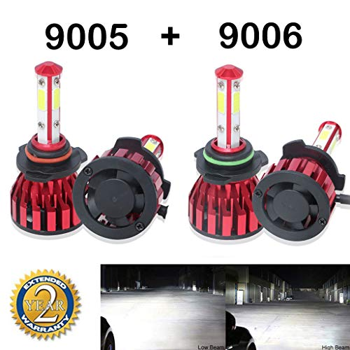 - 9005 9006 Headlight Bbulbs Combo LED 40000LM High Low Beam White 6000K Super Bright 360 Degree COB Chips - 2 Year Warranty