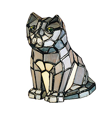 (Tiffany Style Stained Glass Light Cat Accent Lamp)