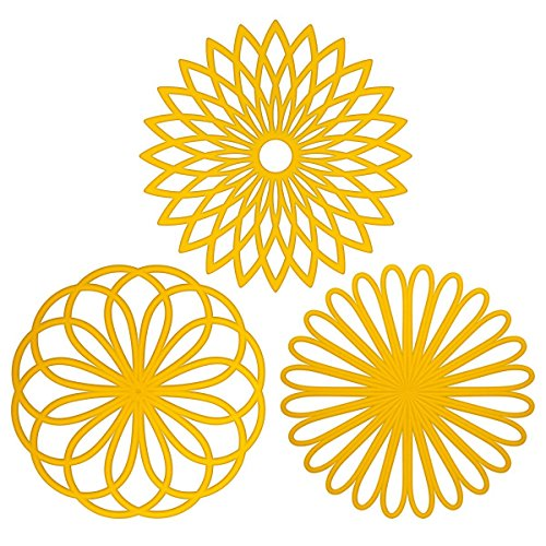 (ME.FAN 3 Set Silicone Multi-Use Flower Trivet Mat - Premium Quality Insulated Flexible Durable Non Slip Coasters Hot Pads)