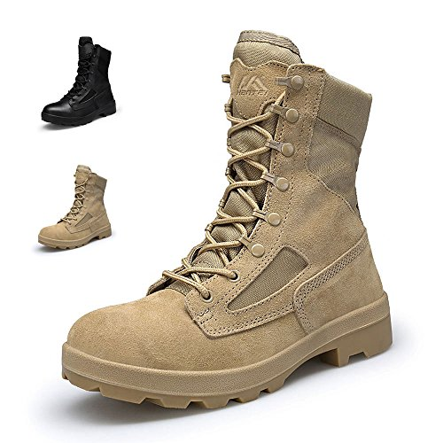 ENLEN and BENNA Combat Boots for Men Military Boots Tactical Boots Coyote Tan Leather Lightweight Composite Toe Brown Black 10 M US by ENLEN&BENNA (Image #1)