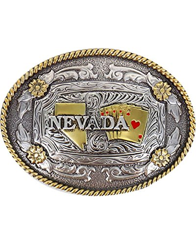 Cody James Men's Two Tone Nevada Oval Belt Buckle Silver One Size (Cody Buckle)