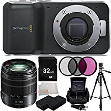 Blackmagic Pocket Cinema Camera with Micro Four Thirds Lens Mount + Panasonic Lumix G Vario 14-140mm f/3.5-5.6 ASPH. POWER O.I.S. Lens (Matte Black) + 32GB Memory Card + 2 Replacement EN-EL20 Batteries + MORE