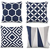 popeven blue throw pillow covers set of 4 outdoor geometric pattern cushion slipcovers 18 x 18 square accent linen decorative pillows - Blue Decorative Pillows