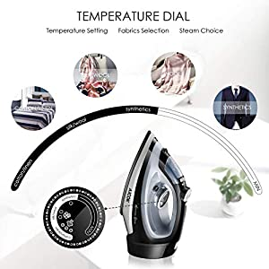 AICOK Steam Iron, 1700W Professional Iron for Clothes with Retractable Cord, Variable Temperature and Steam Control, Non-Stick Soleplate, Anti-Drip & Self-Cleaning, 2019 Upgraded