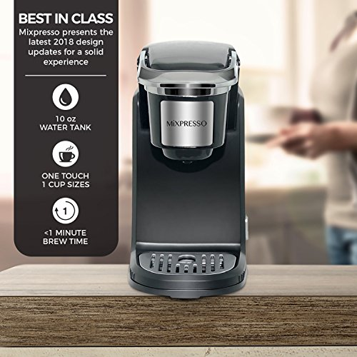 Mixpresso - Single Serve Coffee Maker | Compatible with K-Cups | Quick Brew Technology with Auto Shut-Off | One Touch Function | Programmable Features | Available in Dark Grey & Black Color by Mixpresso (Image #3)