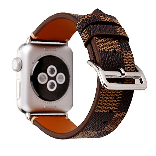 Gucci Louis Vuitton - NewSilkRoad For Apple Watch Band 38mm,Classic Plaid Pattern Leather Band Strap with Stainless Metal Buckle for Apple Watch Series 3, Series 2, Series 1, Sport & Edition (C)
