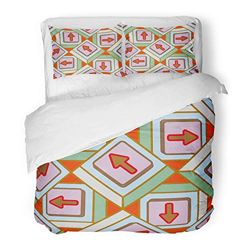 Emvency Bedding Duvet Cover Set Full/Queen Size (1 Duvet Cover + 2 Pillowcase) Accent Abstract Pattern Arrows On Button Allusive America Bottom Crank Cristmas Hotel Quality Wrinkle -
