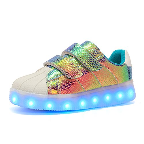 MINIKATA LED Fashion Sneakers Kids Girls Boys Light Up Wheels Skate Shoes Comfortable Mesh Surface Roller Shoes Thanksgiving Christmas Day Best Gift (Purple / 32/1 M US Little Kid) ()