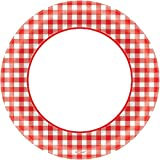 Amscan Disposable Classic Picnic Red Gingham Border Round Childrens Party Plates , 1200 Pieces