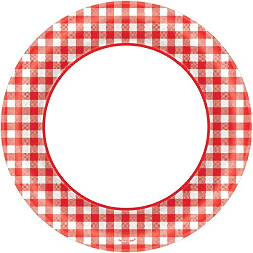 Amscan Disposable Classic Picnic Red Gingham Border Round Childrens Party Plates , 1200 Pieces by Amscan