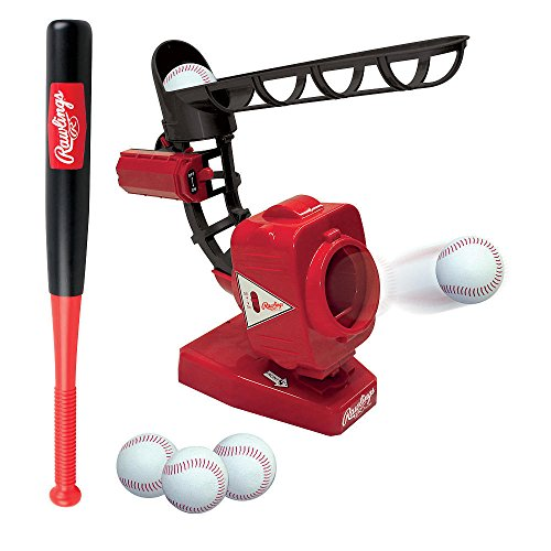 Rawlings Baseball Pitching Machine in Red/Black - 5 Tool Baseball Training Pitcher