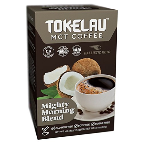 Tokelau Coffee Packets with MCT Oil Powder C8, Keto Coffee in Seconds, Get into Ketosis, Ketogenic Certified and Paleo Friendly, Mighty Morning Blend 7 pack