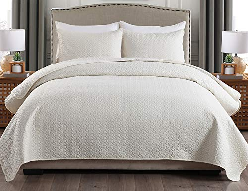 JML Queen Quilt Set 3-Piece Bedspread Coverlet with Shams - Soft Brushed Microfiber, Lightweight Hypoallergenic All-Season Quilt Bedding (88