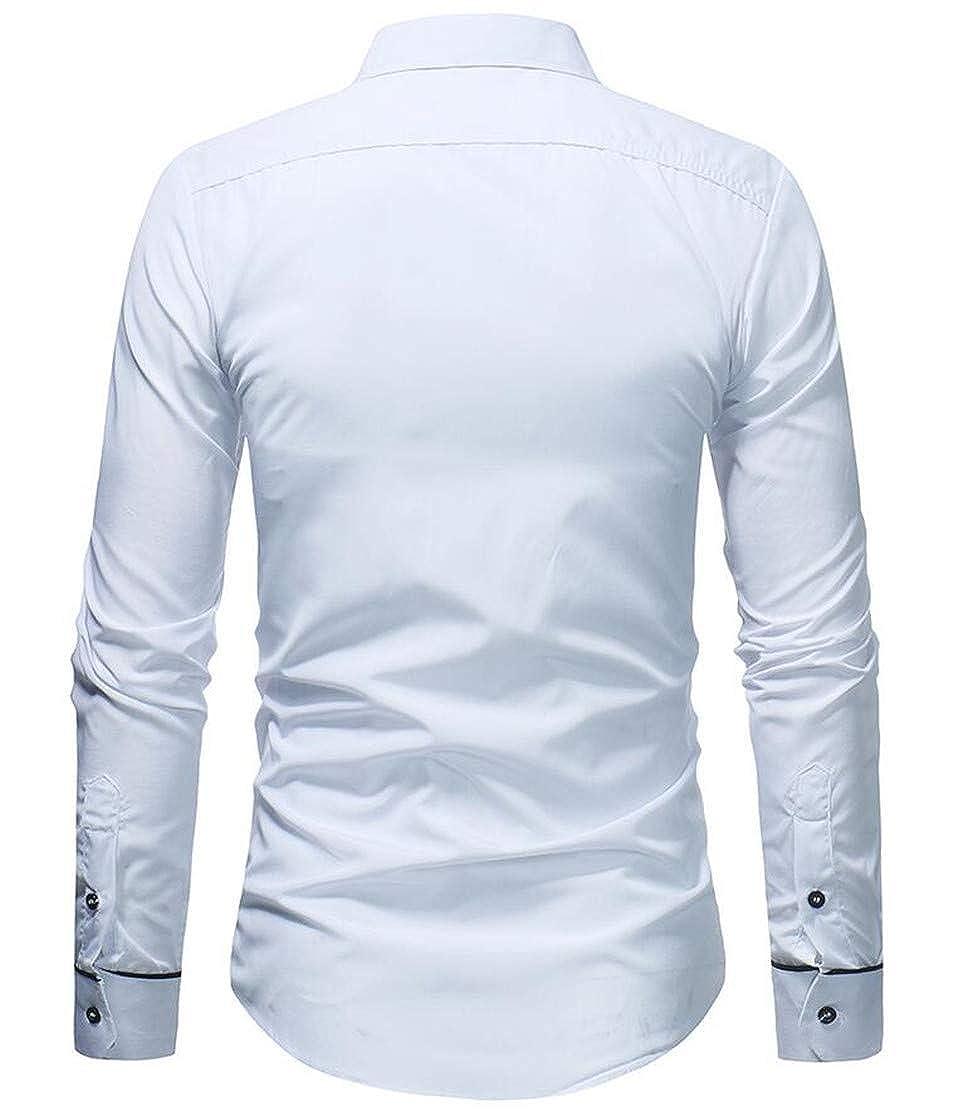 YYear Mens Lapel Loose Long Sleeve Plain Work Button Down Shirt Dress Shirt