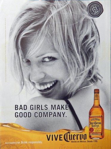 Jose Cuervo Especial Tequila, Print Ad. Full Page Color Illustration (bad girls make good company) original Magazine - Cuervo Tequila Especial