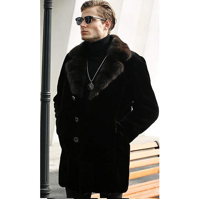 Amazon.com: Chaqueta de lujo para hombre de Mink Trench Coat ...