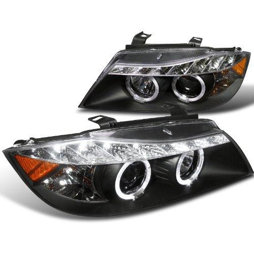 Spec-D Tuning 2LHP-E9005JM-8-TM Bmw E90 3-Series 4Dr Led Dual Halo Black Projector Head Lights