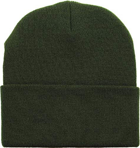 SKIHAT-Long OLV Thick Beanie Skully Slouchy & Cuff Winter Hat Made in USA Olive