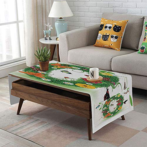Linen Blend Tablecloth,Side Pocket Design,Rectangular Coffee Table Pad,Letter O,Spring Season Alphabet with Grass Daisy Butterflies Ladybugs Greenland Florets Decorative,Multicolor,for Home Decor