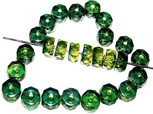 50pcs Belly Rondelles Czech Glass Faceted Beads 3x6mm, Olivine Aqua Lustre