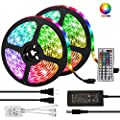 LED Strip Lights, Targherle 33ft/10M Led Light Strip SMD 5050 IP65 Waterproof RGB Flexible Light Strip Kit with 44 Key IR Remote RGB Controller, Strengthen 3M Tape, 12V 5APower Supply for Indoor and O