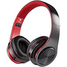 Bluetooth Headphones with Microphone, Viotte Hi-Fi Deep Bass Wireless/Wired Headphones Over Ear,Hands-Free Calling,7 Hours Playtime Compatible with Bluetooth 4.0 Devices-Black & Red