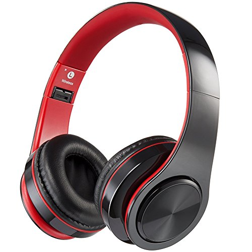 Bluetooth Headphones with Microphone, Viotte Hi-Fi Deep Bass Wireless/Wired Headphones Over Ear,Hands-Free Calling,7 Hours Playtime Compatible with Bluetooth 4.0 Devices-Black & Red - Black Wired Microphones