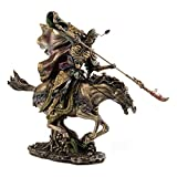 Top Collection Guan Yu Warrior Statue- The Loyal and Righteous Three Kingdom Chinese Hero Sculpture in Cold Cast Bronze - 12-Inch Figurine