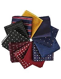 driew 11Pcs Hombres Suit Cuadrado pañuelos de Bolsillo con Assorted Pattern