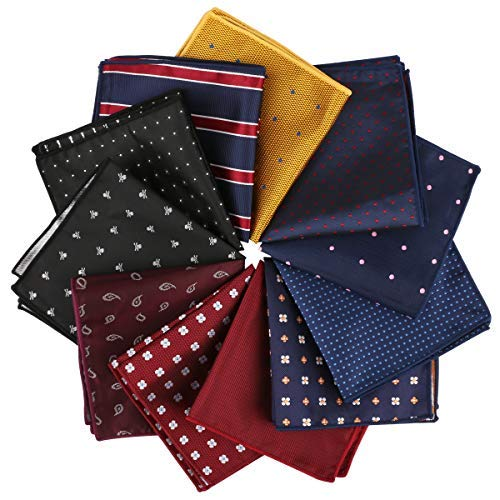 (Driew 11 Pcs Men Suit Pocket Square Handkerchiefs with Assorted)