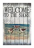 Coastal Wall Art – Sandpiper Welcome Sign – Nautical Wooden Slat Sign For Sale