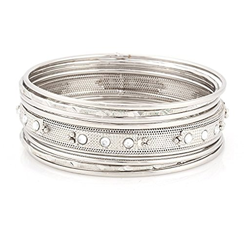 (Jewelry11 Silver -Tone Crystal Bangles, Set Of 9 Pcs Gift For Her)