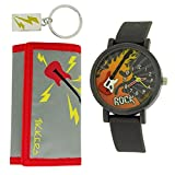 Tikkers Grey and Red ''Rock'' 3D Dial Watch, Key Ring and Purse Set ATK1015