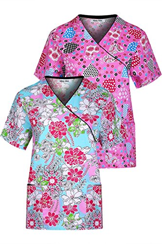 Minty Mint Women's Medical Scrub Printed V-Neck Top Multi Pack Blue Pink - Cute Scrub