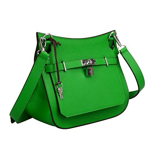 Messenger Hardware With Satchel Silver Green Ainifeel Genuine Bag Bamboo Padlock Leather Women's 0xzw1wIqp