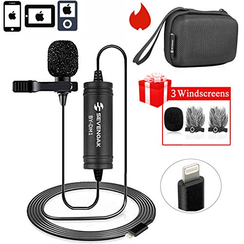Lapel Lightning Mic for iOS Devics Vlog Video, 236 ft/6m BOYA Lavalier Microphone Clip-on with iOS Interface for iPhone 11 10 X 8 7 Plus SE 6 iPad Mini iPod Touch for YouTube Vblog Podcast Micro Film