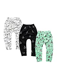 KIDS TALES 3 Pack Toddler Baby Cotton Ankle Pants Cute Cartoon Harem Trousers