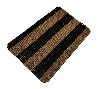 GARDENBYRD - Door Mats Outside made with Plastic Doormat Grass Fibers, Black, Tan, 18 x 30