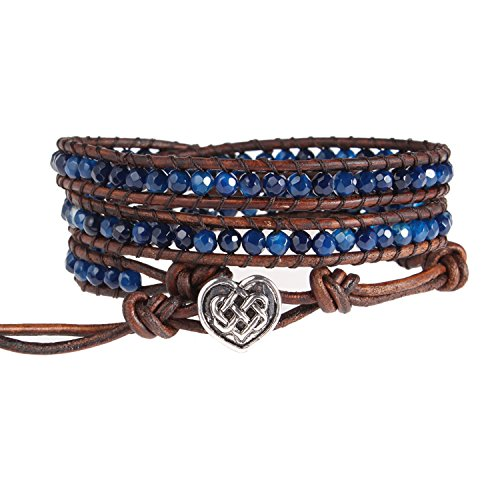 Bonnie Wrap Bracelet Facet Agate Heart of Celtic button Healing Leather Bracelet for Women (Blue) (Celtic Bracelet)