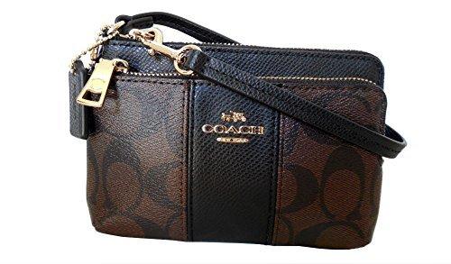 Free Coach Signature Canvas Leather Double Zip Wristlet
