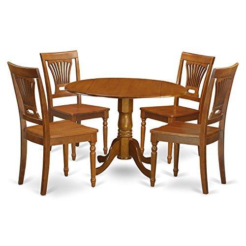 East West Furniture DLPL5-SBR-W 5-Piece Kitchen Nook Dining Table Set, Saddle Brown ()